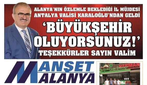 Manşet Alanya birinci sayfası