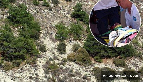 Alanya'da 5 metrelik uçuruma düştü