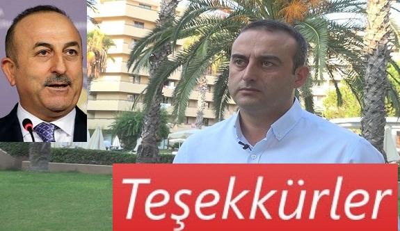 Alanya Özkaymak hotelden, Bakan Çavuşoğlu'na teşekkür