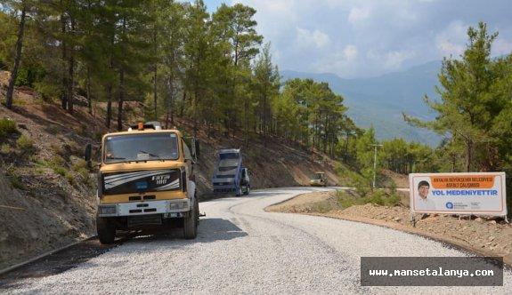 Alanya Uzunöz yolu asfaltlanıyor
