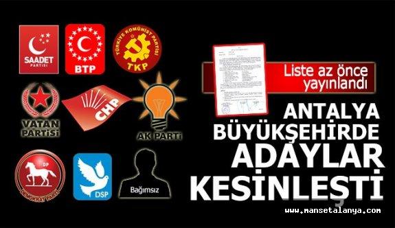 İşte kesinleşen Antalya Büyükşehir adayları