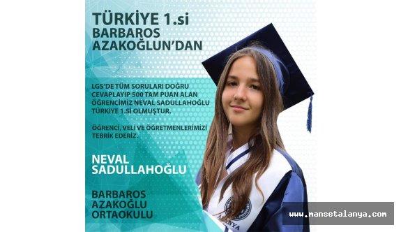 Türkiye birincisi Alanyadan!