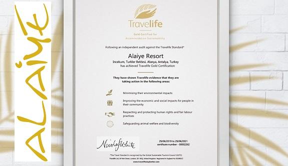 Travelife Gold ödülü bu yıl Alaiye Resort'ta!