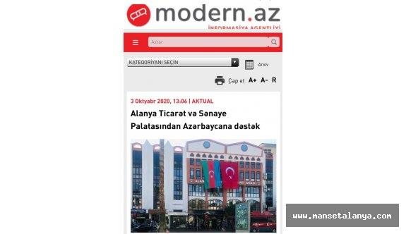 Azerbaycandan ALTSO Başkanı Şahine teşekkür!