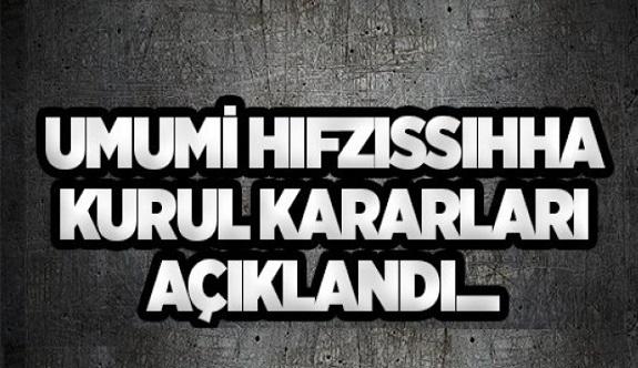 Antalya İl Umumi hıfzıssıhha kurulu kararları