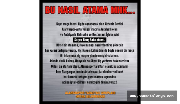 Alanyaspor-Antalyaspor maçına Antalyalı hakem atandı!