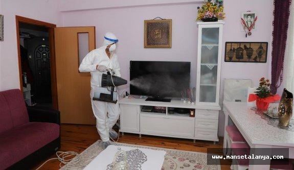 Alanya'da pozitif vaka bulunan evlere dezenfeksiyon hizmeti!