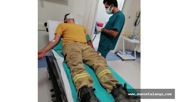 Alanya'da orman yangınında görevli işçi az daha canından olacaktı!