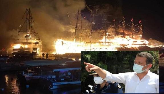 Kaymakamdan tekne yangın açıklaması