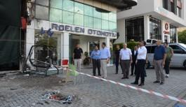 Devlet baba, yanan binada incelemede bulundu