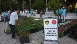 Alanya'da çiçek fidesi dağıtalacak mezarlıklar