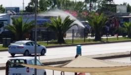 Göçmentürk'ün alev alan tankeri trafiği kilitledi