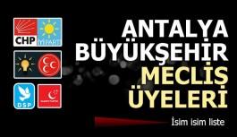 Antalya Büyükşehir Belediye Meclisi listesi