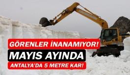 Gündoğmuş'ta Mayıs ayında 5 metrelik karla mücadele!