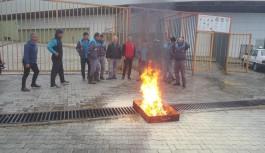 Oba standında yangın tatbikatı