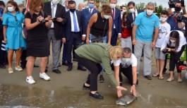 Tedavisi tamamlanan caretta caretta denizle buluştu!