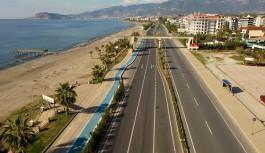 Alanya belediyesinden sahil bandına bisiklet yolu!