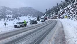 Alacabelde yoğun kar yağışı