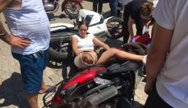 Motosiklet sürücüsü bayan ölümden döndü