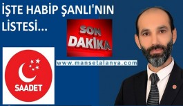 İşte Saadet Partisi Alanya meclis listesi