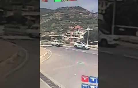 Alanya da meydana gelen ölümlü kazanın güvenlik kamerası kayıtları