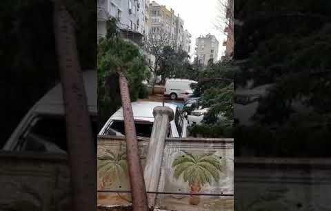 Antalya 'da hortum arabalara zarar verdi