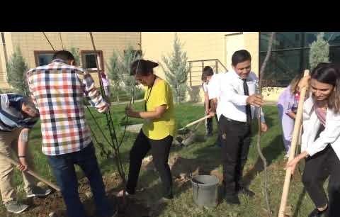 Hasta ve hasta yakınları el ele 200 fidanı toprakla buluşturdu