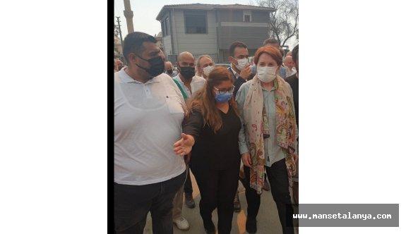 İYİ Parti  lideri Akşener, yangın bölgesinde!